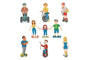 People on electric transport hoverboard segway vector set characters driving on gyroscooter and man balancing on electrical monowheel or eco balanceboard illustration isolated on white background