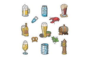 Beer in beerhouse brewery vector beermug or beerbottle and dark ale or beerbarrel in bar on beery party with alcohol set illustration isolated on white background