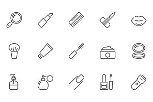 Beauty and Cosmetic Line Icons