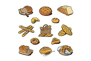 Bakery and bread vector baking breadstuff meal loaf or baguette baked by baker in bakehouse set illustration isolated on white background