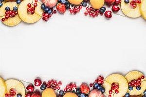 Various fruits on white, frame