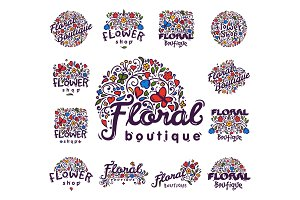 Bright badge for flower shop decorative hand drawn frame template for floral business nature banner vector illustration.