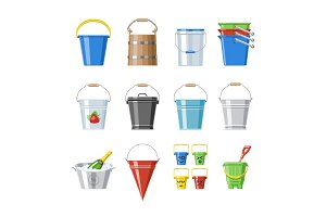 Bucket vector bucketful or wooden pailful and kids plastic pail for playing empty or with water bucketing down in garden and bitbucket for gardening set illustration isolated on white background