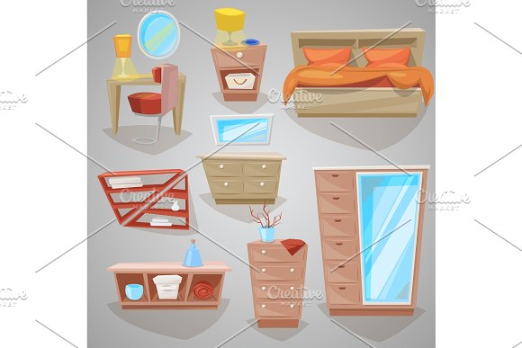 Furniture in bedroom vector furnishings design of bed with bedding or bedclothes in furnished bedside interior of apartment and to furnish decorate room set illustration isolated on background