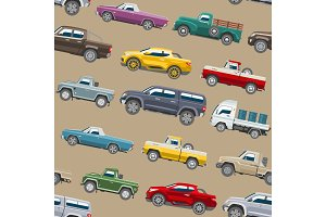 Pickup car vector seamless pattern auto delivery transport pick up offroad automobile vehicle or truck and mockup citycar background illustration backdrop