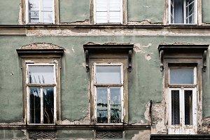 Aged old building facade