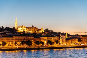 Cityscape of Buda Castle and Danube River in Budapest at night