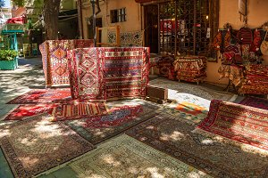 Carpets on the street market in Tbilisi.