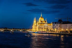 Cityscape of Hungarian Parliament Building and Danube River in B