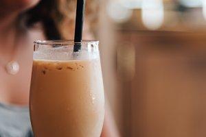 Close up of Girl Drinking a Milkshake