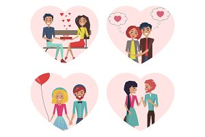Couples in Love Images Set Vector Illustration