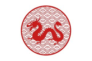 Japanese Mythical Dragon in Circle with Pattern