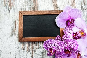 Blackboard and pink  orchids