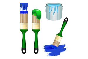 Thick brushes and bucket full of paint set