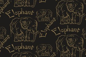 Elephant, seamless pattern, vector