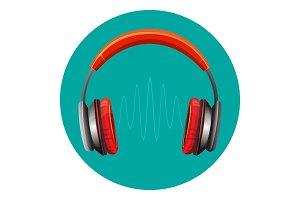 Modern loud headphones with sound wave between speakers