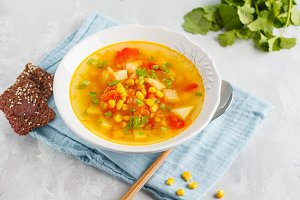 Healthy bright vegetable corn soup