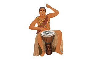 African man in ethnic clothing plays wooden djembe