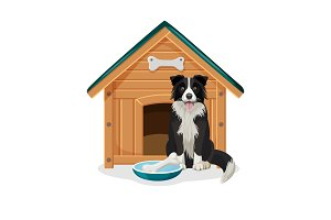 Dog sits beside wooden doghouse and bowl with bone