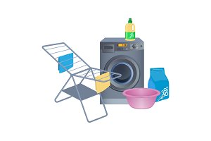 Metal clothes drying rack, washing machine, cleaning powder in package