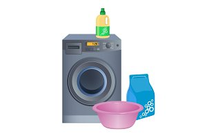Doing laundry poster with washing machine, cleaning powder in package