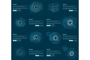 Radar Webpages Collection Vector Illustration