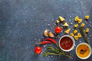 Italian pasta ingredients background