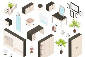 Isometric Icon Set Of Create Bedroom