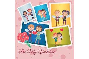 Be My Valentine Festive Banner Vector Illustration