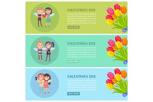 Valentines Day Postcards Set with Young Lovers