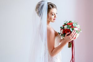 Gorgeous bride in classy dress