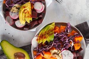 salad of baked beets, sweet potato