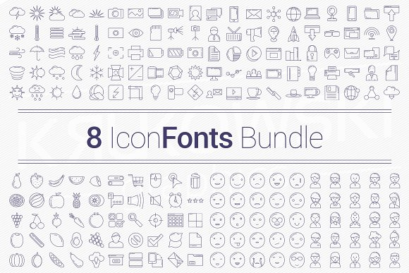 200 Icons In 8 Fonts Bundle