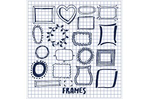 Set of Cute Hand Made Frames Vector Illustration