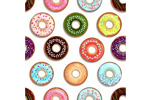 Vector seamless pattern with tasty foods. Desserts with glaze donuts and cakes