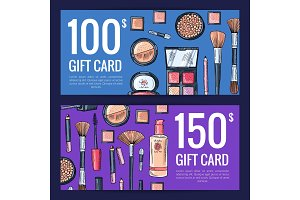 Vector gift card vouchers for beauty products with hand drawn makeup products isolated on dark background