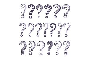 Monochrome pictures set of question marks. Doodle pictures isolate on white