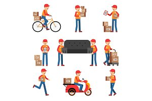 Workers of delivery. Different characters set. Service man