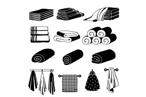 Monochrome illustrations of different towels. Vector set isolate on white