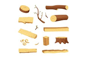 Planks from trees and different wood elements for production industry
