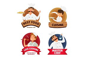 Logo or labels set for restaurant. Characters of chef