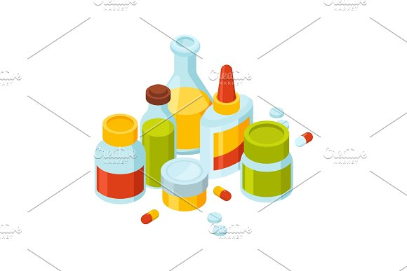 Different bottles with pills and drugs. Vector illustration of medicine theme