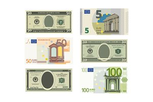 Illustrations of fake dollars and euro. Vector pictures of money