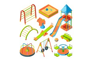 Kids playground. Isometric pictures set