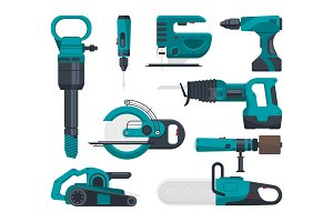 Construction electro tools for repair. Vector pictures in flat style