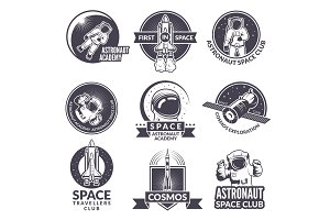 Emblems, labels or logos of space theme with illustrations of space and astronauts