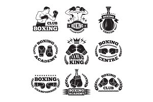 Boxing club, or mma fighting labels. Monochrome vector illustrations