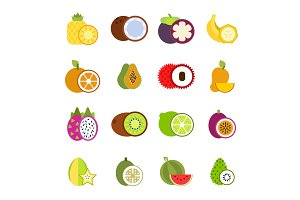 Illustrations of tropical fruits in vector style