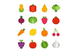Vector flat illustrations of vegetables and fruits