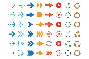 Modern colored arrows. Vector icon set